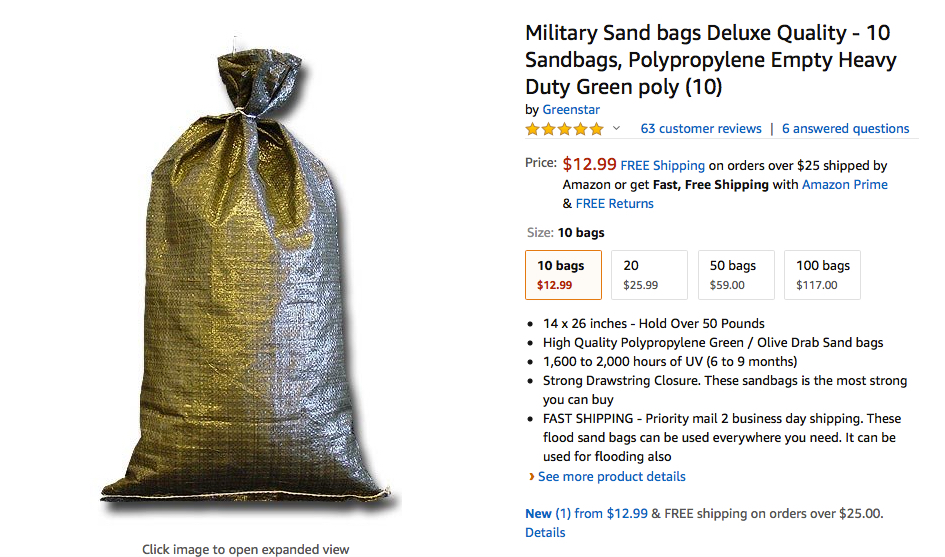Amazon Military Poly bags